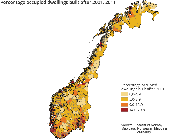 Percentage occupied dwellings built after 2001. 2011