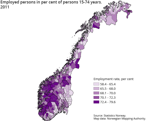 Employed persons in per cent of persons 15-74 years.  2011