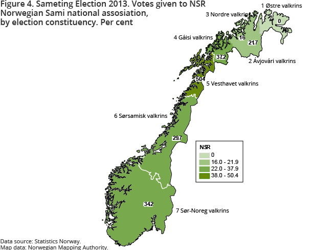 Figure 4. Sameting Election 2013. Votes given to NSR Norwegian Sami national assosiation, by election constituency. Per cent