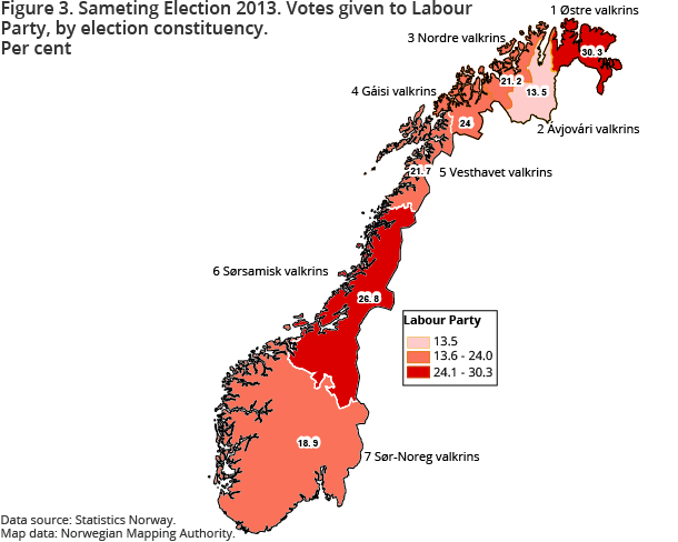 Figure 3. Sameting Election 2013. Votes given to Labour Party, by election constituency. Per cent